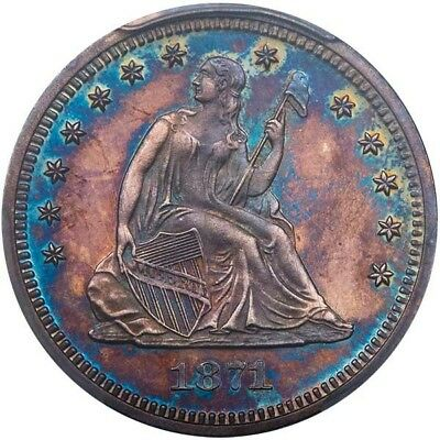 1871Proof Seated Liberty Quarter PCGS PR63 Exquisite Toning on Mirrors!! 🇺🇸