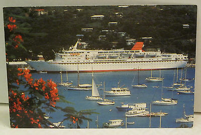 Cunard Countess of British Registry Passenger Ship at St Thomas VI Postcard