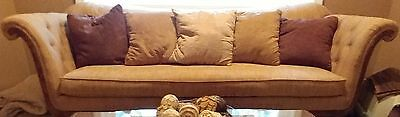 Heirloom Art Deco 1930's Curved Wood Fabric Sofa MINT (recently reupholstered)
