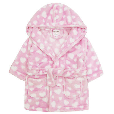 Baby Girls Pink Heart Hooded Supersoft Bathrobe Girls Soft Dressing Gown 6-24mth