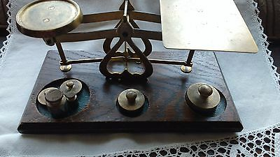 Antique Brass Post Office Scales with Weights (grams)