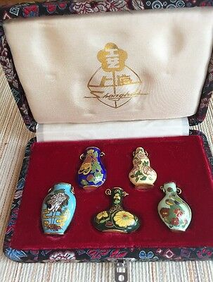 5 Tiny Hand Painted Brass Bottles, Could Be Snuff Bottles. In Fancy Box