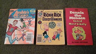 LOT of 3~ COMIC BOOKS~Richie Rich Harvey Comics~Archie~Dennis the Menace~Vintage