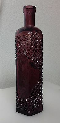 Vintage Burgundy Colored Vidrios De Levante Glass Bottle Hand Made In Spain