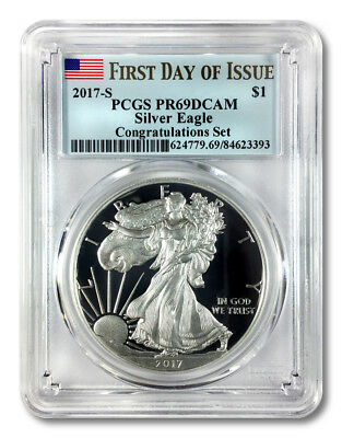 2017-S Silver Eagle $1 - Congratulations Set - PCGS PR69DCAM First Day of Issue