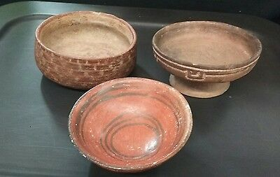 Extremely Beautiful Group Of 3 Pre-Columbian Bowls