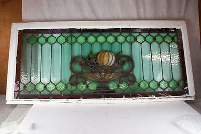 Art Deco Or California Cottage Leaded Glass Window, 60 Inches Wide By 27