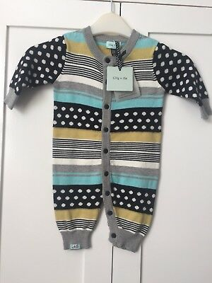 *NEW* Baby Boy/Girl LILLY & SID Knitted Stripy/Spot Playsuit 3-6 months BNWT