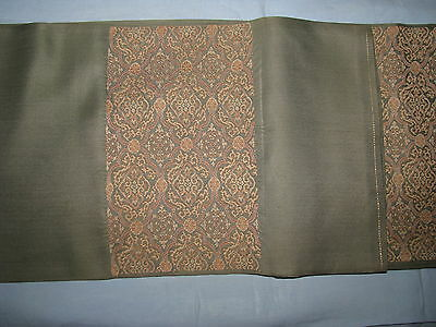 Japanese Obi Silk Vtg Celadon Salmon Silver Subtle Paisley Colors Beautiful Exc.