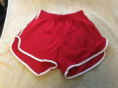 Vintage 1980s Red Gym Shorts Short Shorts, Dolphin Small/medium