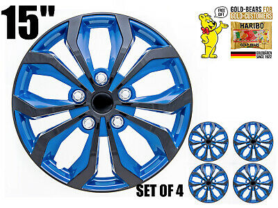"15"" inch Hubcaps CAR+ ""SPA"" ABS BLUE AND BLACK Easy to install Set of 4 pieces"