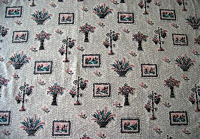 """Vintage 30s-40s Fabric Pink Teal Gray 2 yds x 36""""W"""