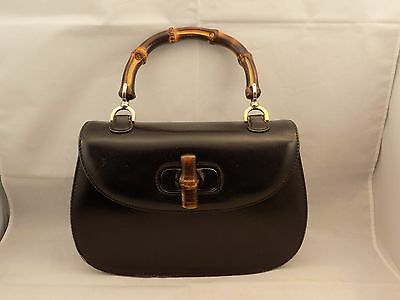 Vintage Gucci Handbag with Bamboo Handles Black Leather