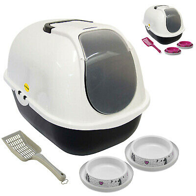 Cat Hooded Litter Tray + 2 Non Slip Bowls Toilet Loo Filter Scoop Pan