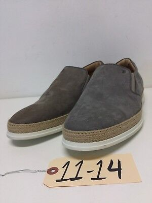 1114 NEW Tod's Raffia Gray Suede Slip On Sneakers Men's Size 11 M
