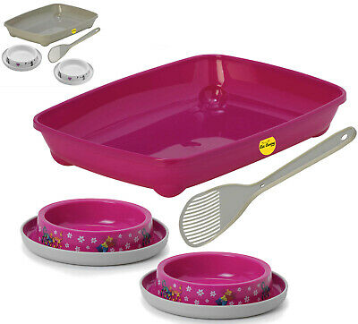 Kitten Litter Tray + 2 Bowls + Scoop Box Pan Toilet Loo Cat Feed Anti-Spill