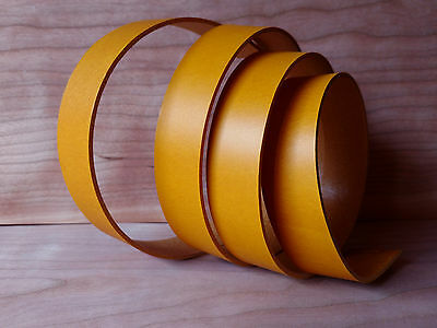 """46"""" STRAPS MUSTARD YELLOW VEG TANNED COWHIDE 1.2mm TUSCANY LEATHER 8 WIDTHS"""