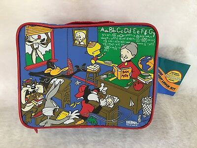 Looney Tunes Insulated Softsided Lunch Box w/ 10 oz Thermos New Rare 1996