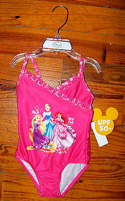 New! Girls DISNEY Bright Pink Princess Ruffles One-Piece SwimSuit Size 2T