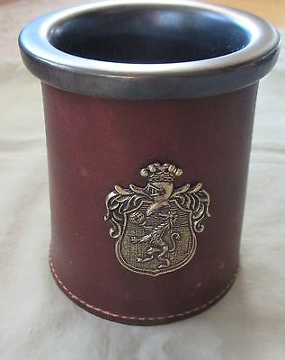 Vintage Leather Tankard Mug with Ceramic Insert - England - Coat of Arms