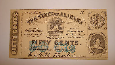 1863 ALABAMA Fifty Cents 50C Confederate Currency - You Grade It (#77ce)