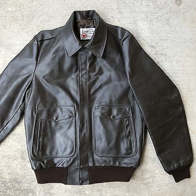 Vtg Sears Leather Shop A2 Naval Aviator Flight Jacket Indiana Jones 42 X Tall
