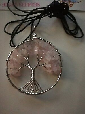 Code 630 Rose Quartz xl Tree of Life Archangel Infused Necklace Virtue Certified