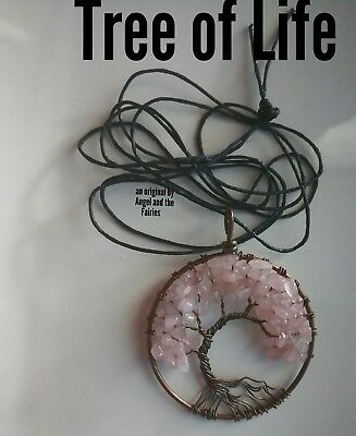 Code 631 Rose Quartz Tree of Life Archangel Ariel Infused Necklace Boho Gypsy