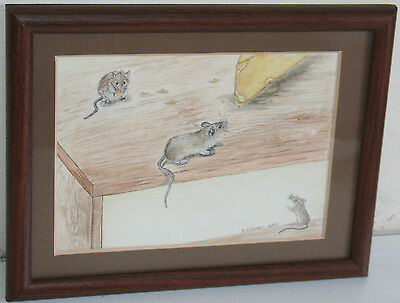 Vintage 1986 Naive Watercolor Painting TEMPTING TITBITS BY M. GRUNDY