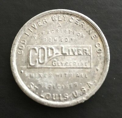 Cod-Liver Glycerine Co. St Louis MO Accident ID Pocket Piece Token Tag Coin