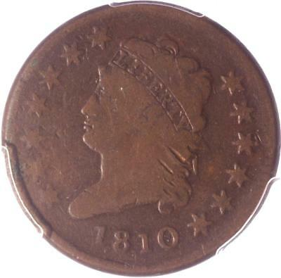 """1810 """"classic Head"""" Large Cent, Pcgs G06, Tough Early Date, Excellent Type Coin!"""