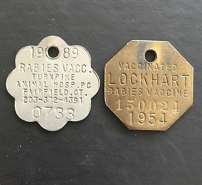 Rabies Vaccine ID tags 1954 Lockhart Fairfield CT Token Coin ID Vaccinated