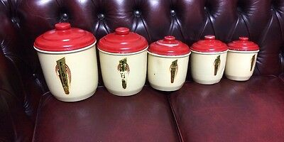 Set Of 5 Vintage Aluminum  Kitchen Canisters