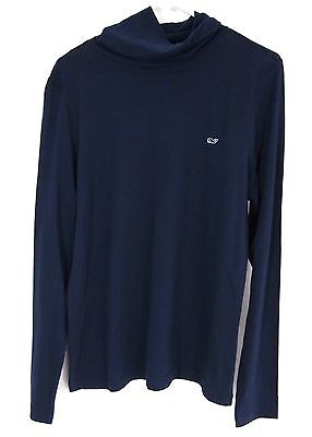 Vineyard Vines Mens Navy Blue Turtleneck Long Sleeve Light T-Shirt Pima Cotton L