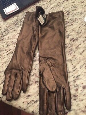 New NWT Mossimo Leather Ladies Women's S Small M Medium Long Gloves Bronze