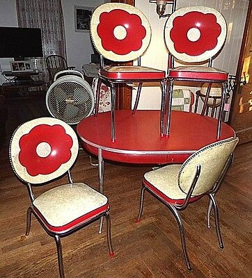 Vintage Chrome Dining Set Slender legs,well made UNUSUAL,CHAIRS GREAT LOOK 1950s