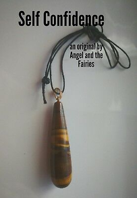 Code 633 Tigers Eye Archangel Michael extra large Angel Teardro Infused Necklace