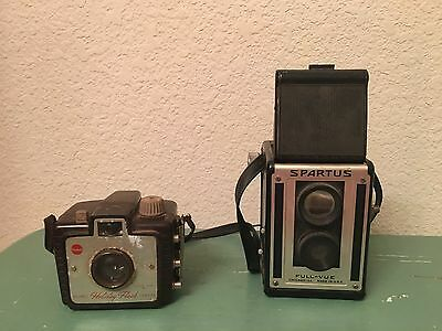 Two Vintage Cameras Spartus Full-Vue And Kodak Brownie Holiday Flash