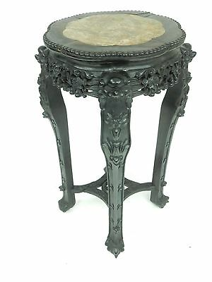 """Large Antique Chinese Intricately carved Rosewood and Marble Plant Stand 32 """""""