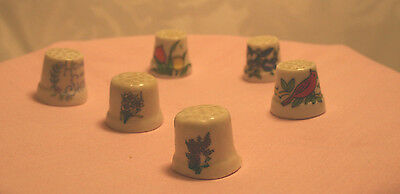 Vintage Thimble Hand Painted Lot of 6  Floral, Red Bird, Home Sweet Home