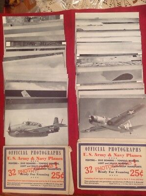 WWII official photographs US Army Navy Planes axis allied Airplanes 2 sets 88
