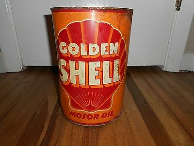 Vintage HTF 5 Quart GOLDEN SHELL MOTOR OIL ADVERTISING TIN CAN