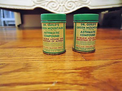 Lot 2 Vintage Unused Dr. Guild's Green Mountain Asthmatic Compound Medicine Tin