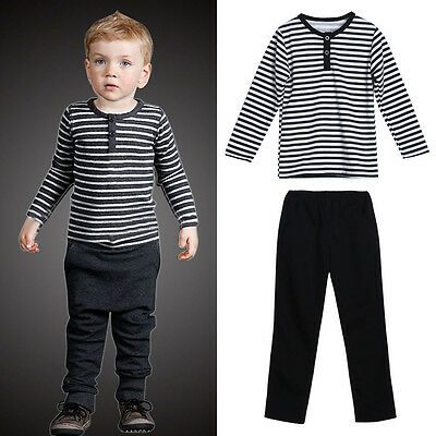 Toddler Baby Kids Boys Clothes Stripe Long Sleeve T-shirt Tops+Pants Outfits