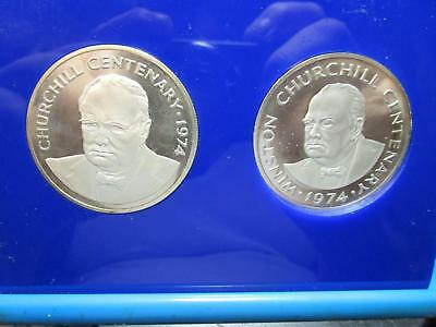 1974 -Turks & Caicos - 2 - 20 Crowns - Silver Proof  w/Case & Coa    (LOT GV-10)