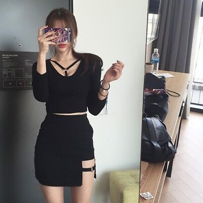 9b613329ba Korean Style Black Package Hip Skirts Gap Irregular Hem Pencil Micro Mini  Skirt
