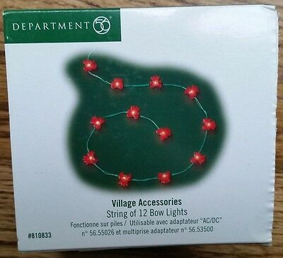 Dept. 56 Village Accessories String of 12 Bow Lights in Box 81083 + Battery Pack
