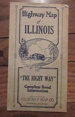 Antique Highway Map of Illinois circa 1928