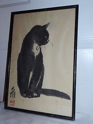 VTG 50s MCM ASIAN LITHOGRAPH WATERCOLOR PRINT BLACK CAT TIP SIGNED DA WEI KWO
