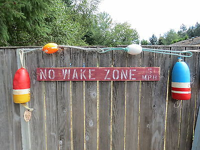 48 Inch Wood Hand Painted No Wake Zone 5Mph Sign Nautical Seafood (#s820)